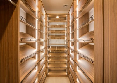 The 30-inch wide walkway to the luxury shoe rack will make you feel like shopping at home!