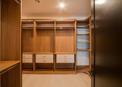 The shelves have drawers in Cypress Live finish