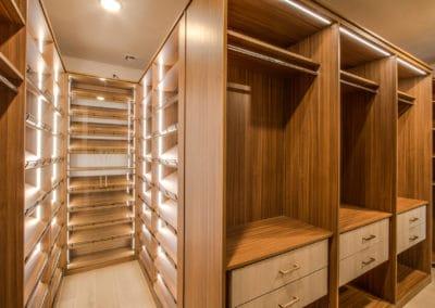 An interconnected lighting system illuminates the luxury shoe rack