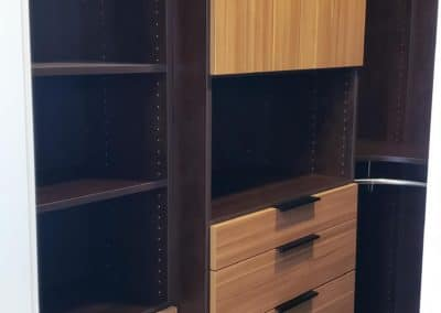 His Side of His and Hers Master Bedroom Closet in Las Vegas- Hamper, Drawers, and Shelving