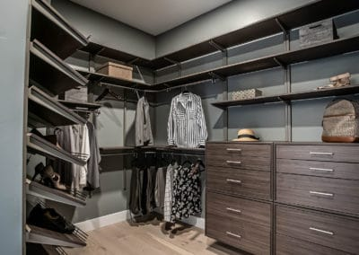 Modern dark colors are used to create this luxury master bedroom closet in Summerlin, Las Vegas.