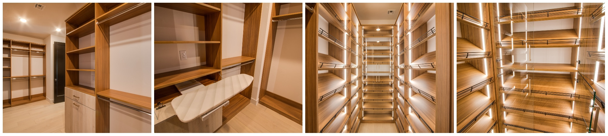 luxury bedroom closet in cypress live finish with short hang and long hang shelves cabinets and shoe racks