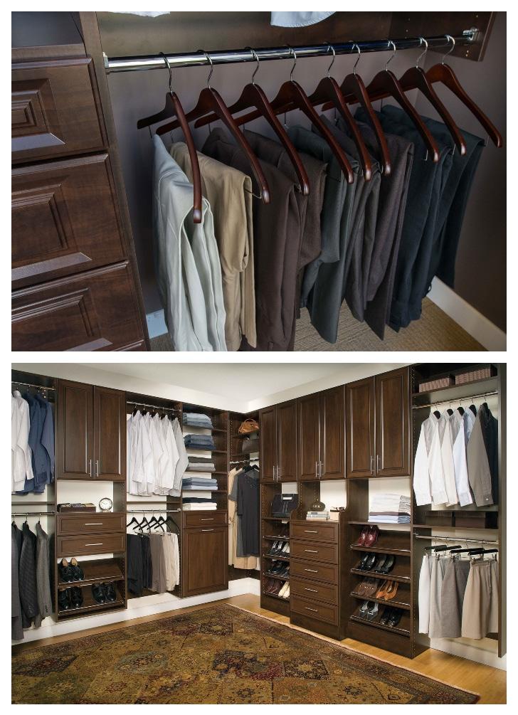 mens luxury classica closet in cholocate pear shade by custom closet builder closets las vegas