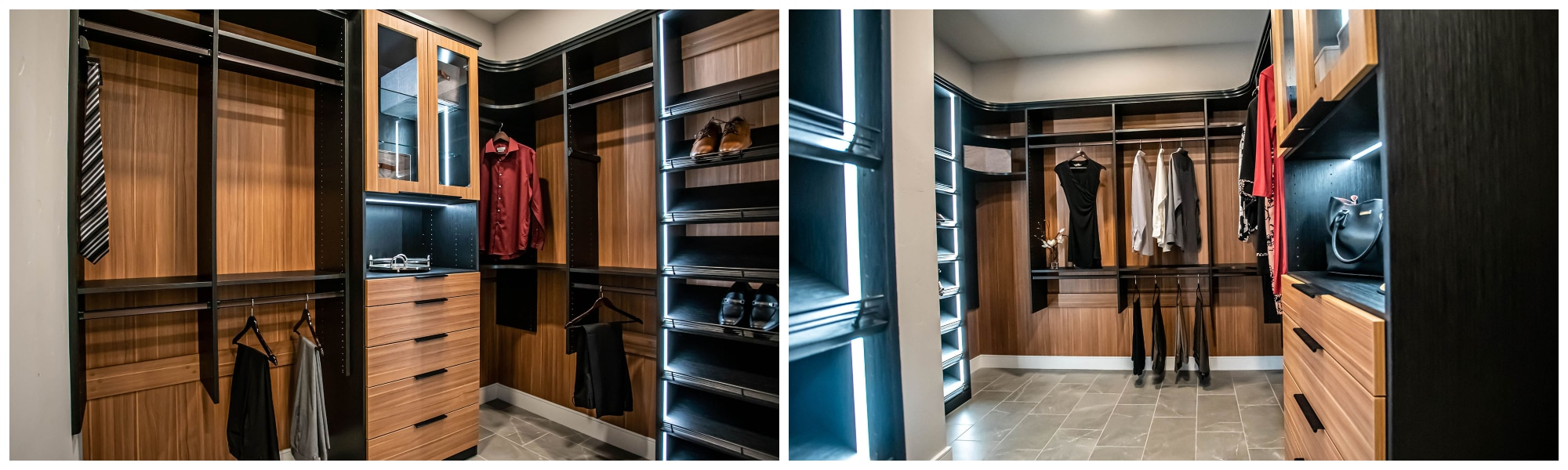 two toned his and hers luxury custom closet in summerlin by closets las vegas