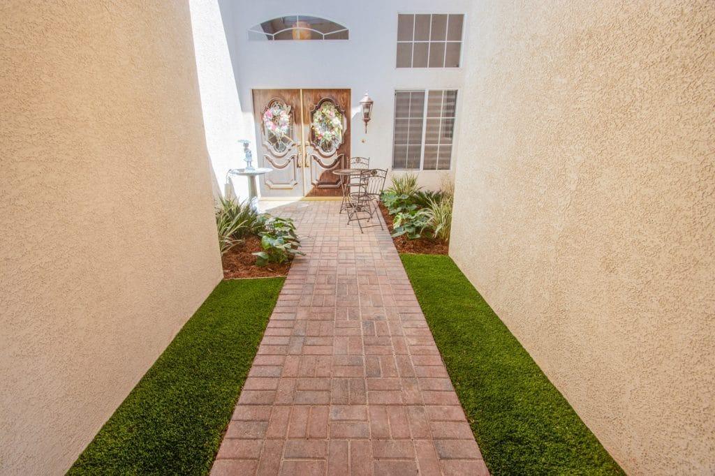 Las Vegas residential garden pathway before concrete floor coating