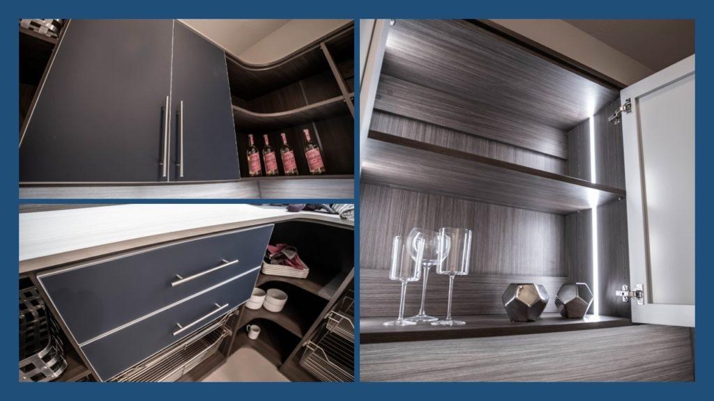 custom built pantry drawer with large steel handles