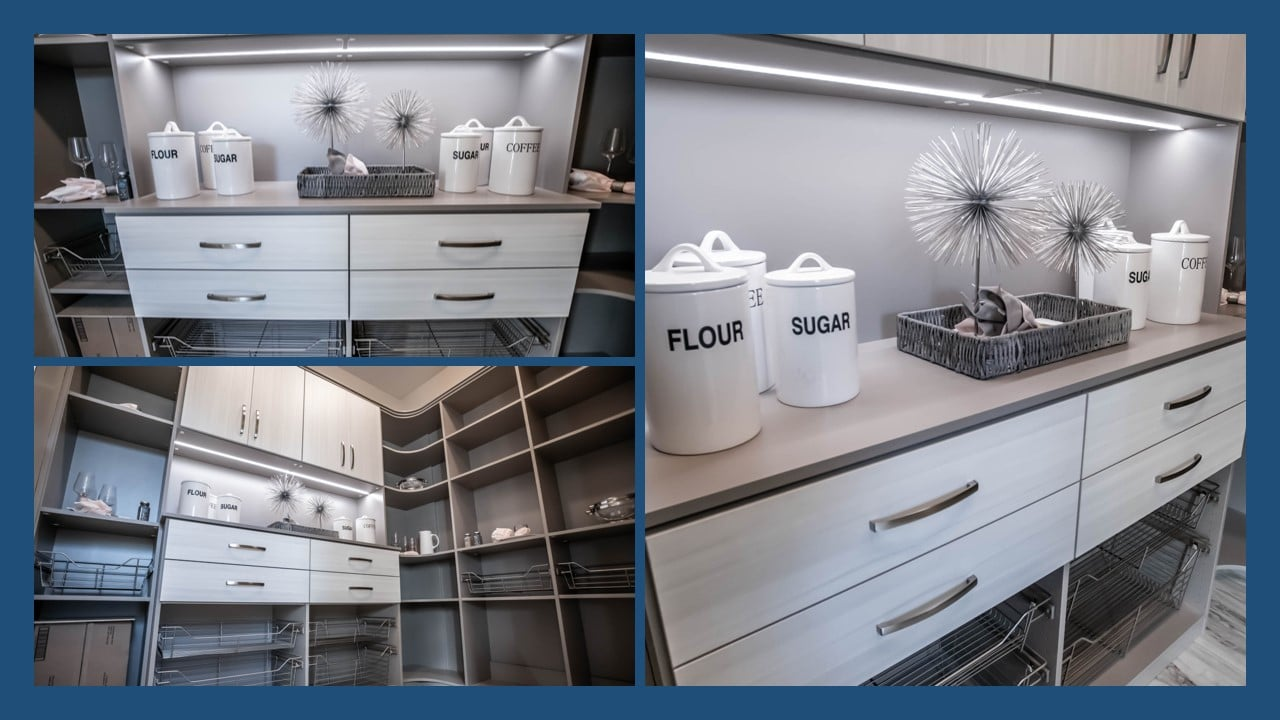 Drawers and steel baskets custom pantry shelving systems Las Vegas