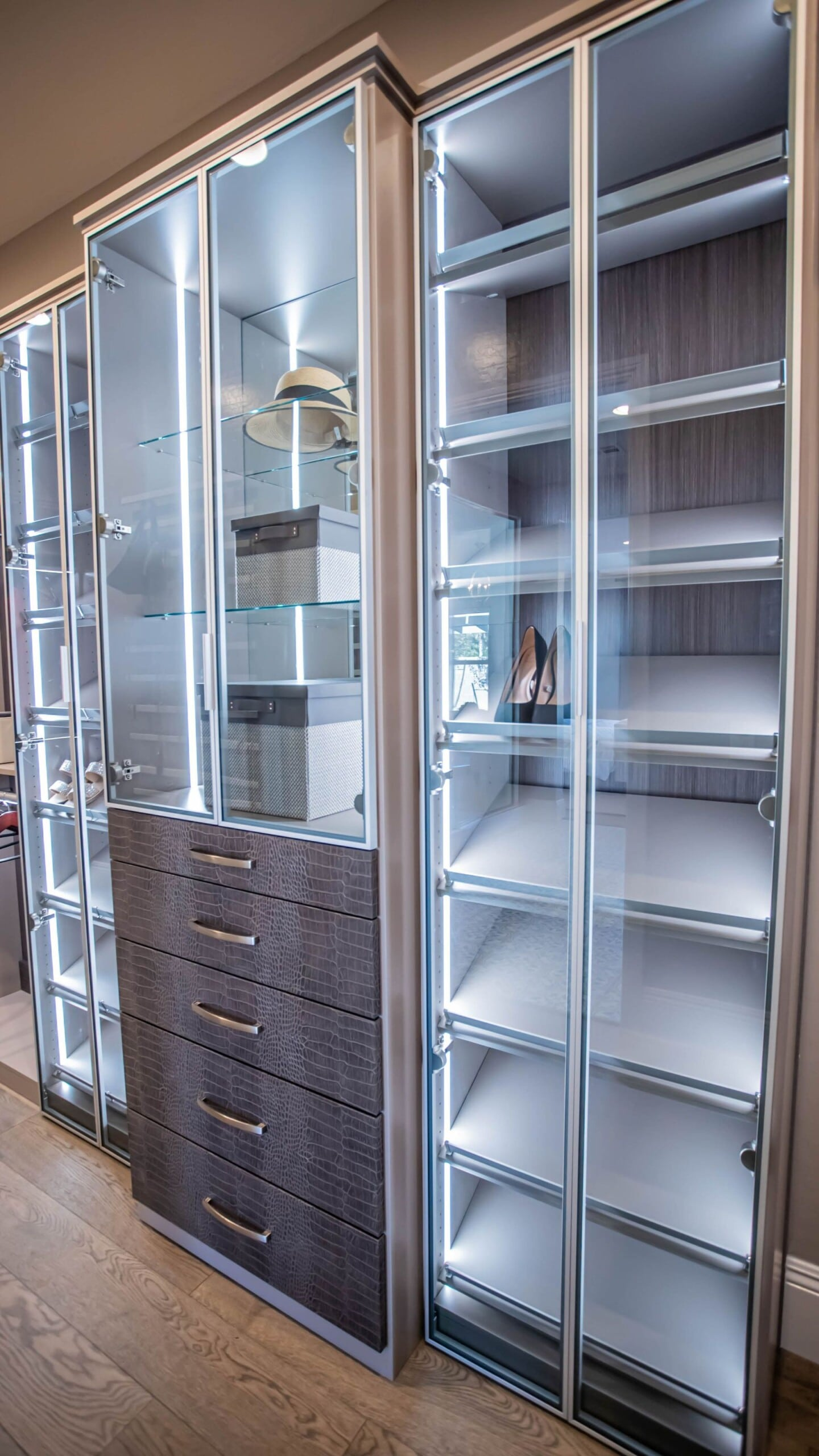 luxury closet design crocodile pattern drawer fronts and shoe racks for her