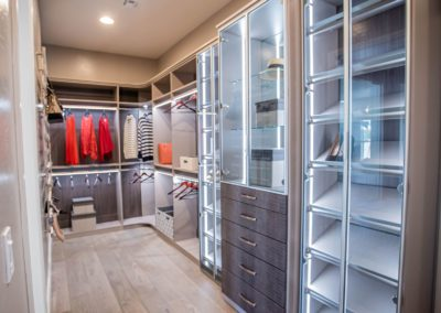 Sophisticated lighted shoeracks and cabinets with elegant crocodile pattern drawer fronts