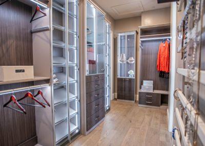 Elegant custom drawers and lighted display cabinets Las Vegas high end custom closet