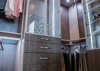 Luxurios custom drawers with crocodile pattern drawer fronts for high end custom closets in Las Vegas