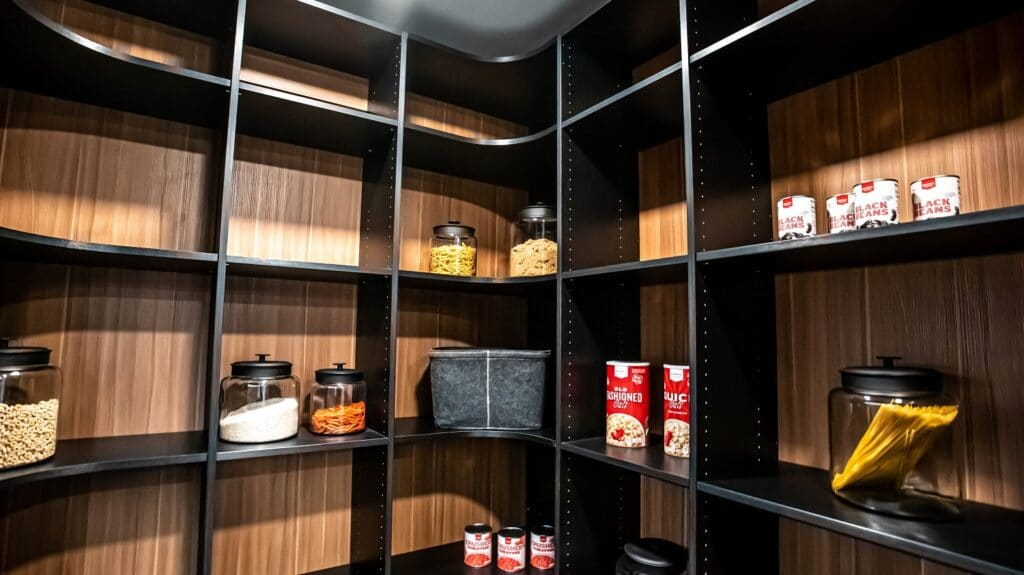 Look more closely at this custom kitchen pantry design with light brown-colored backwalls and numerous dark brown-colored shelves
