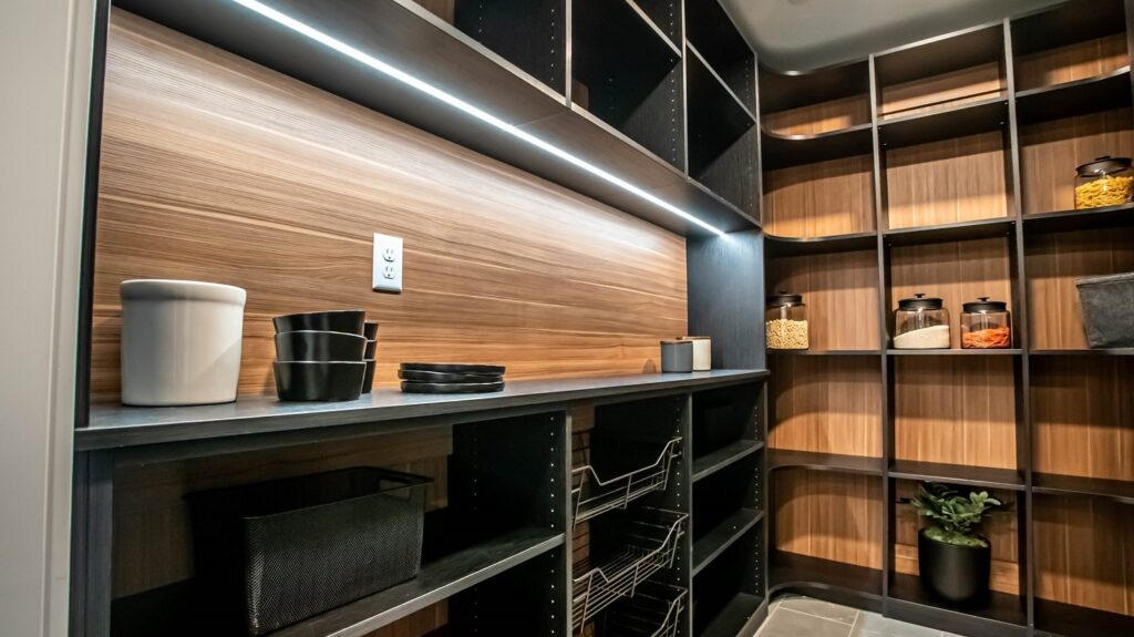 Look closely at this custom kitchen pantry design with dark brown shelving system and light brown backwall