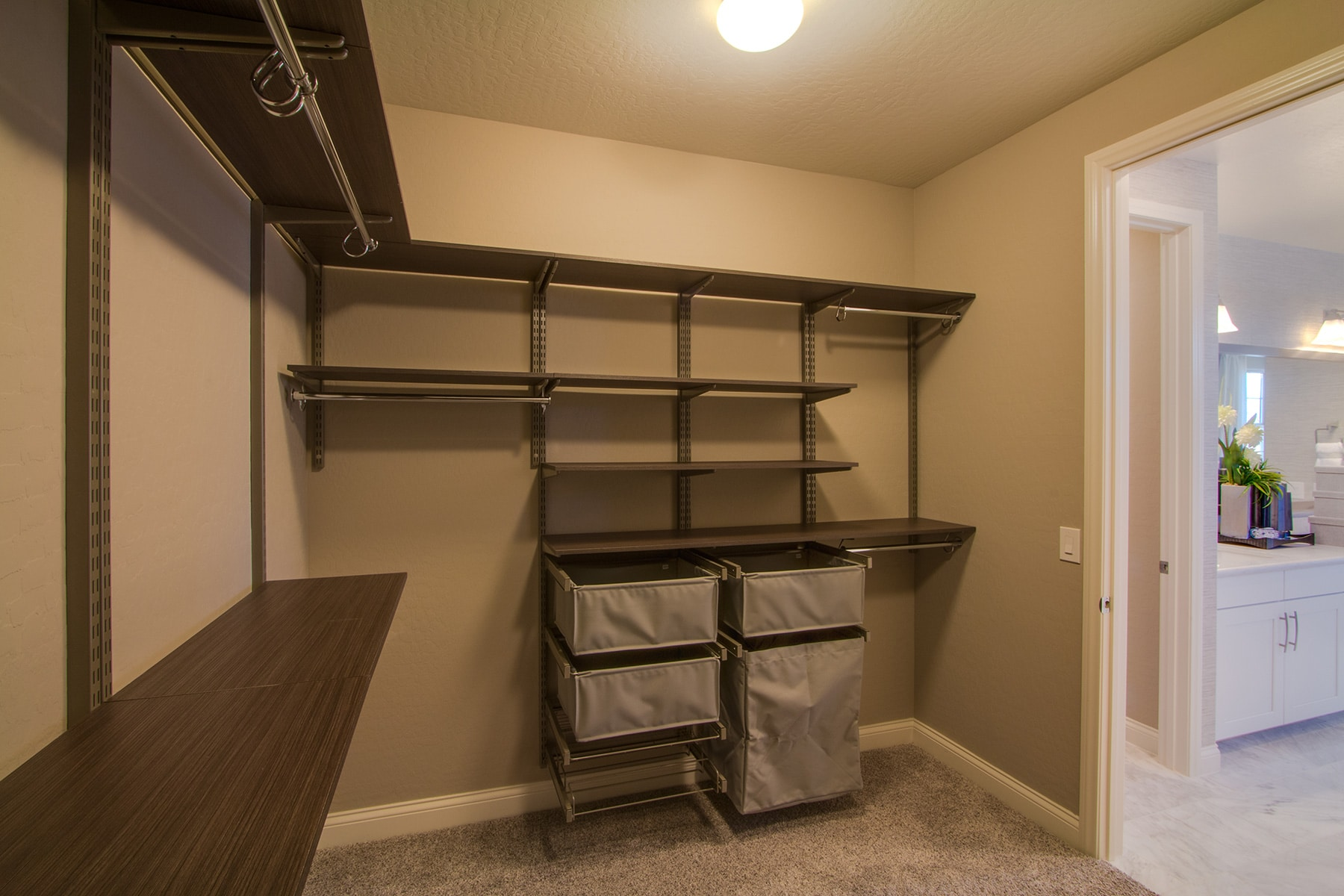 Walk In Closet Systems with FreedomRail, Hamper and Shoe Pull-Outs