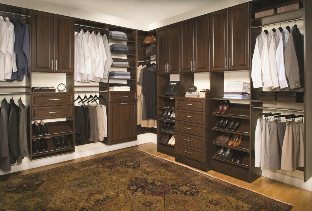 Take a look at this elegant classica high-end walk-in closet in chocolate pear