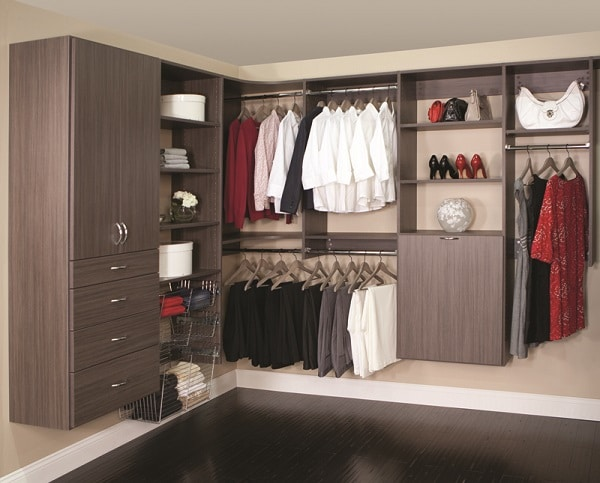 Check out this wall-mounted Classica modern walk-in closet in driftwood live