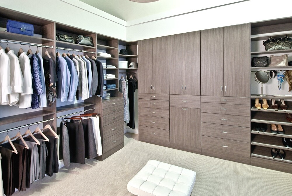 Look closely at this beautiful custom closet design for master bedroom walk-in closet.