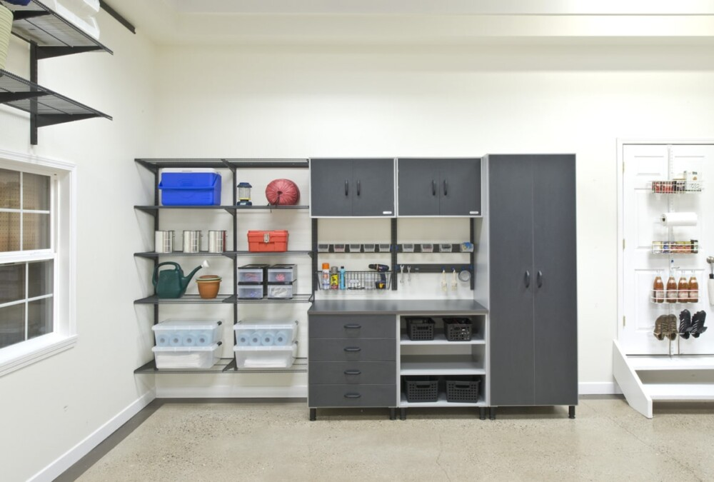 Click to see closely how organized this floor-mounted freedomRail Garage is.
