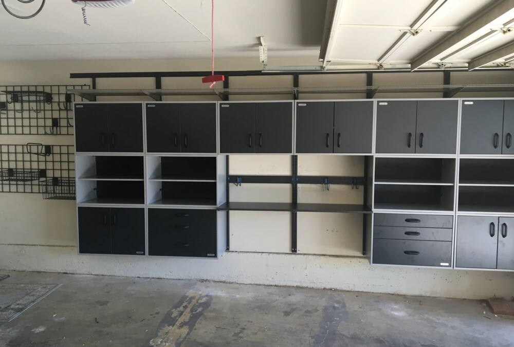 Click here to see this custom garage storage with wall-mounted cabinets and shelves