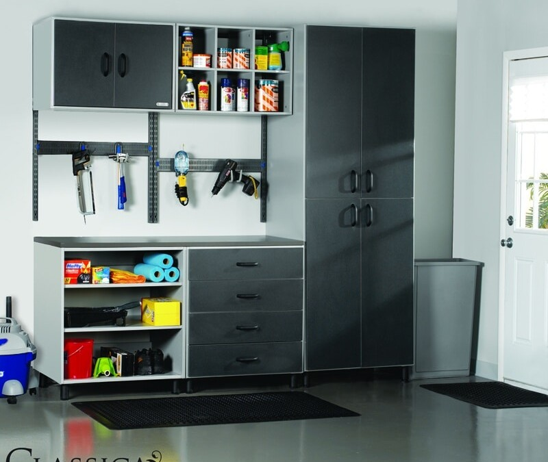 Look closely at this freedomRail garage organizer with work top featuring big everything hook and Go-Box shelf.