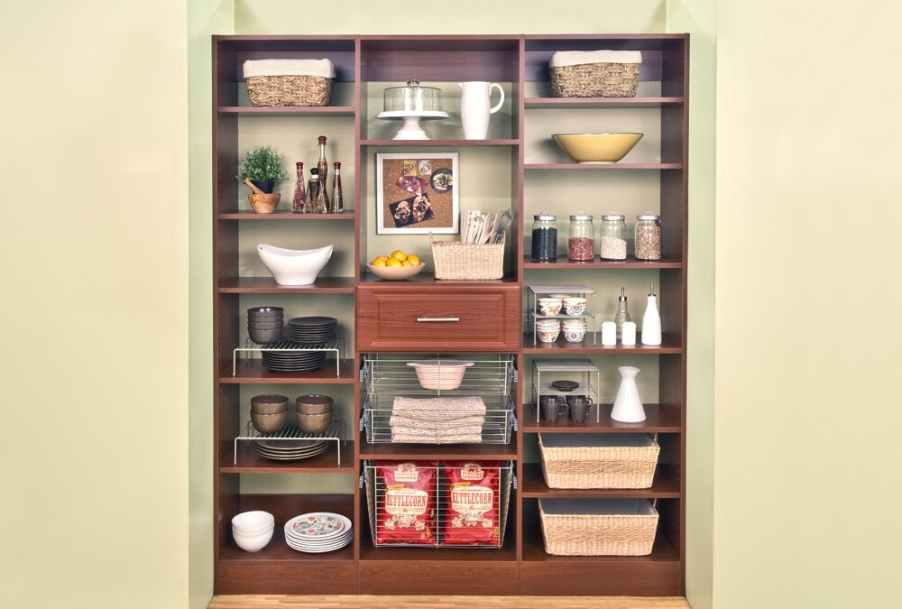 Look closer at this modern cherry floor-mounted pantry shelving ideas by Closets Las Vegas