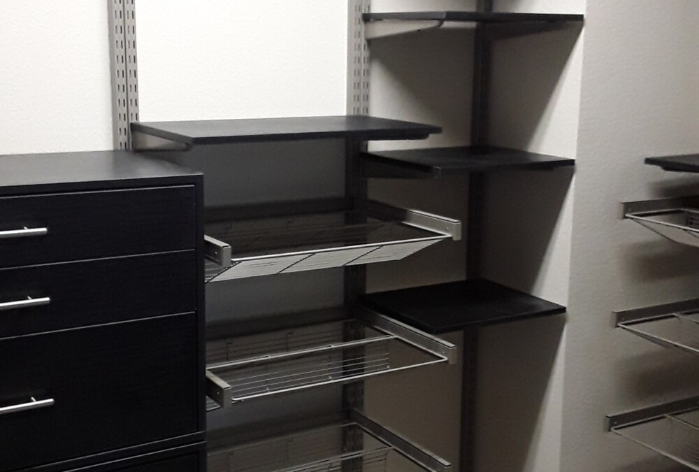 Look closely at this freedomRail walk-in closet systems with drawers and shoe pull-outs