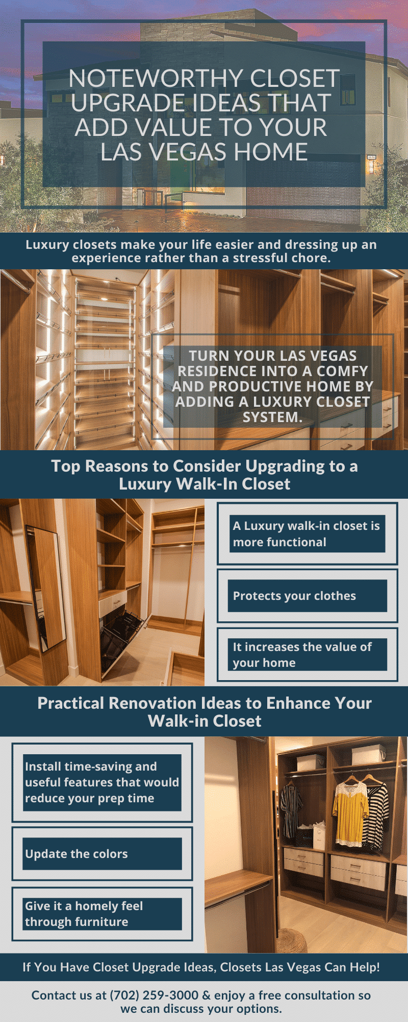 infographic for custom closet upgrades for your las vegas home