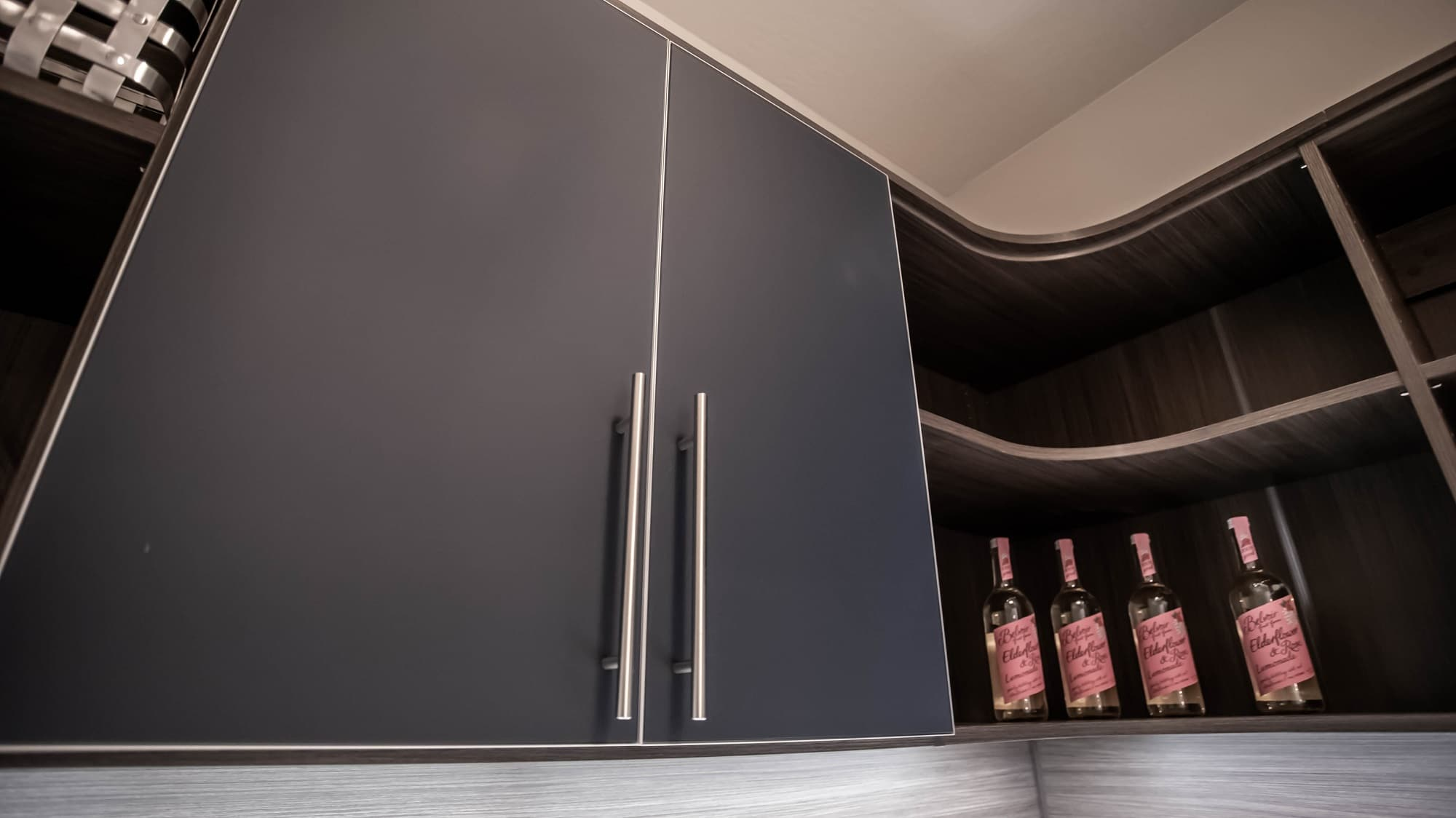 walk in pantry design with painted glass cabinet for ravenwood las vegas home