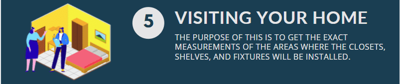 Home visits let our designers and builders get the exact measurement for your closet.