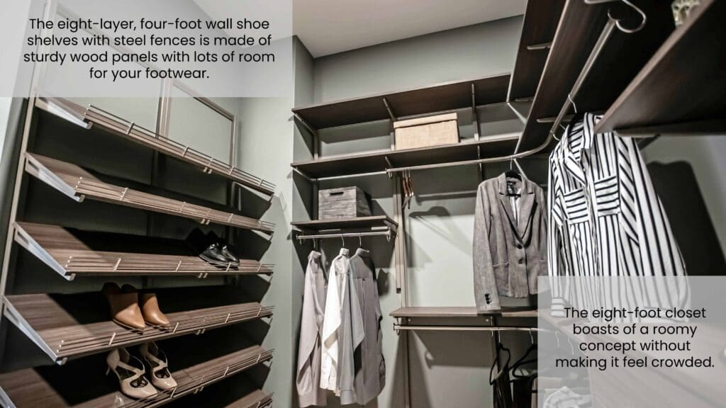Wooden Shoe Shelves for a His and Hers Walk-In Closet Design Idea
